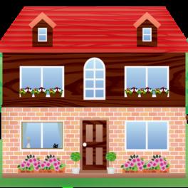 Dessin d'une maison fleurie